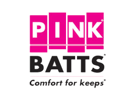 "Pink Batts - ""comfort for keeps"" on a transparent background"