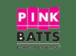 "Pink Batts - ""comfort for keeps"" on a transparent background"