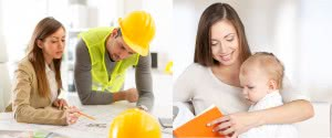 builder looking at design plans - mother with small infant
