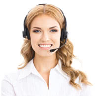 woman using headset image
