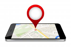 phone with a map - location pin 3d