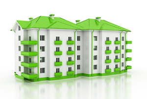 green and white rendered house