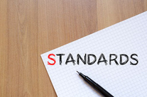 Standards text concept write on notebook