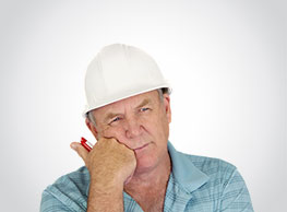 Builder looking puzzled with no background