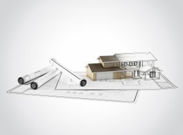 house plans with a drawing of a house rising from the drawings